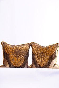 Pair of Silk Pillows with Metal Thread Fringe
