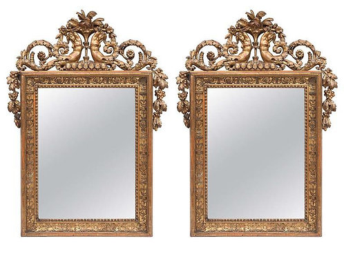 Pair of 19th c. Empire Style Giltwood Mirror