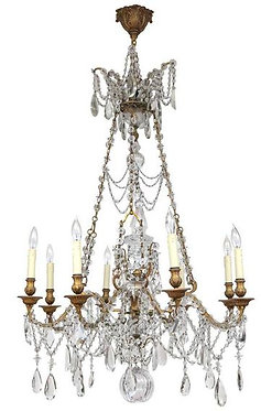 19th c. French Dore Bronze and Crystal Chandelier