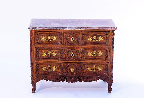 18th c. French Commode with Gray Rouge Marble Top