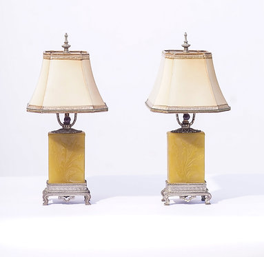 19th c. Steuben Art Glass Bronze Mounted Lamps