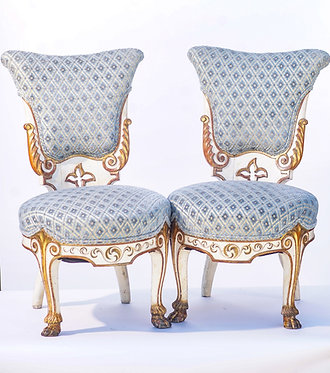 19th c. Venetian Painted Slipper Chairs with Paw Feet