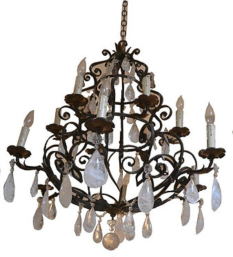 Similar Pair 19th c. Wrought Iron Chandeliers with Rock Crystal