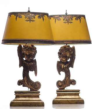 Winged Cherub carved walnut lamps