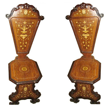 19th c. Italian Inlaid Walnut Side Chairs