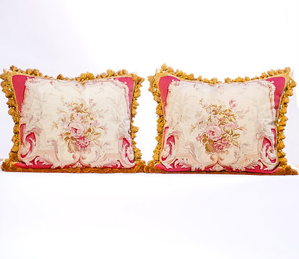 Pair of 19th Century Fine Aubusson Tapestry Pillows, Wine and Pink Flored