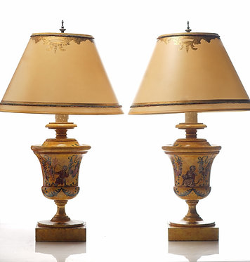 20th c. Italian Style Painted Wood Lamps