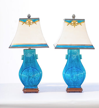 1900's Turquoise Blue Chinese Ceramic Lamps