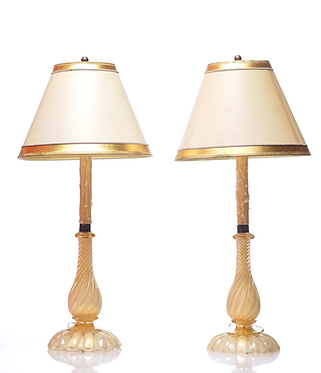 19th c Twisted White & gold Murano Lamps