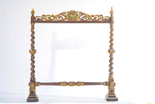 19th c. Italian Painted and  Carved Wood Fireplace Adornment