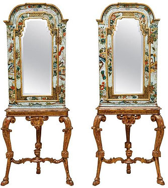18th c. English Chinoiserie Two-part Mirrored Cabinets
