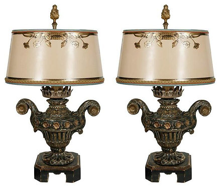 18th c. Italian Giltwood Urn Lamps