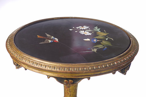 19th c. Italian Pietra Dura Inlaid Pedestal Table