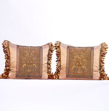 Pair of Silk Pillows with Tassles