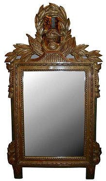 19th c. French Miniature Giltwood Mirror