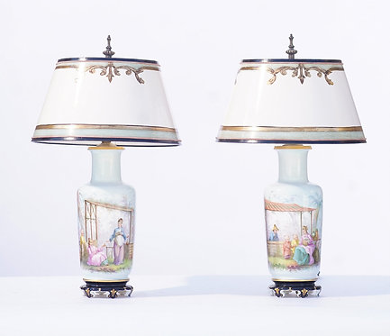 19th c. French Porcelain Lamps with Chinoiserie Theme
