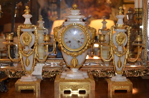 19th c. French Onyx Bronze Clock Set