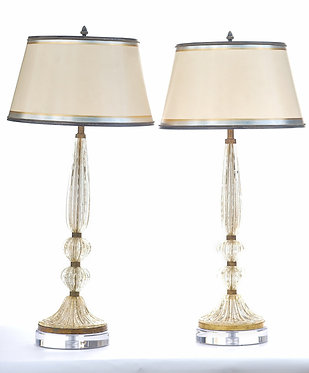 20th c. Italian Gold Murano Lamps