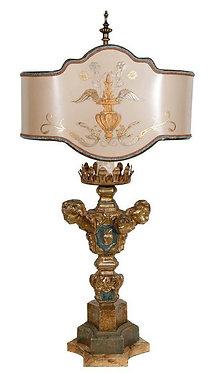 18th c. Italian giltwood Candlestick Lamp