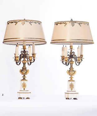 19th c. French Bronze and Marble Lamps