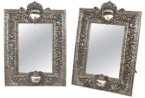 Pair of 19th c. English Silver on Copper Mirrors