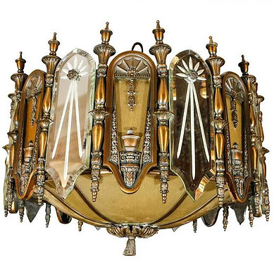 1920's Bronze and Mirrored Glass Chandelier