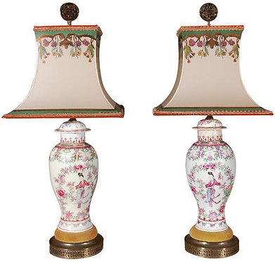 19th c. Hand Painted Chinese Urn Lamps