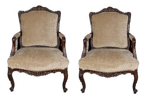 19th c. French Walnut Arm Chairs