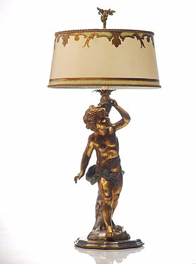 20th c. Italian Vintage Carved Wood Italian Putti Lamp