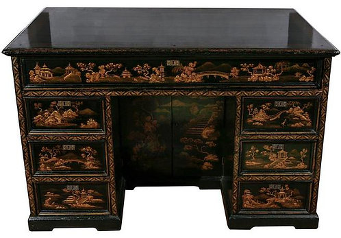 19th c. English Chinoiserie Knee-hole Desk