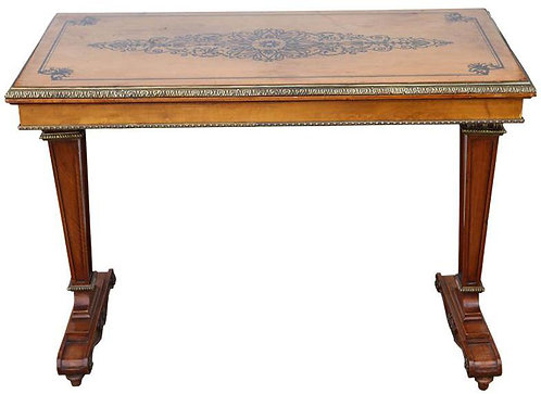 20th c. French Satinwood Inlaid Bronze Mounted Table