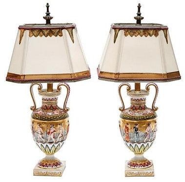 19th c. Italian Porcelain Urn Form Lamps