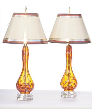 20th c. Italian Orange Mid-Century Murano Lamps SOLD