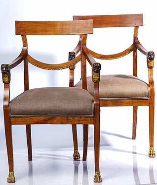 19th c. Italian Fruitwood Classical Arm Chairs