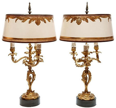 19th c. French Dore Bronze Lamps