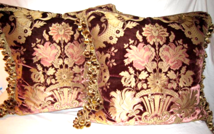 Pair Silk & Velvet Pillows