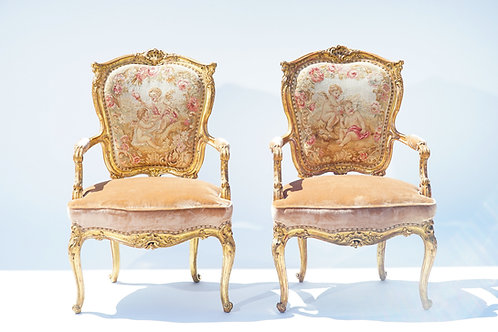 19th c. French Giltwood Armchairs with Aubusson