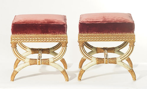 20th c. Italian Style Giltwood and Painted Benches