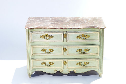 19th c. French painted marble top commode