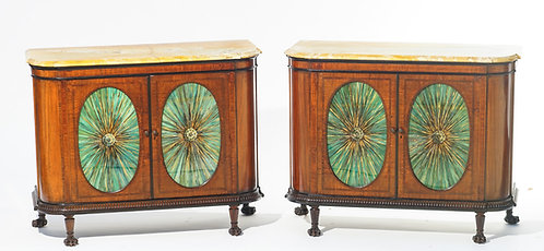 19th c. English Edwardian Marble top Cabinets