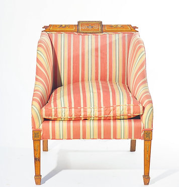 19th c. English Painted Satinwood Club Chair