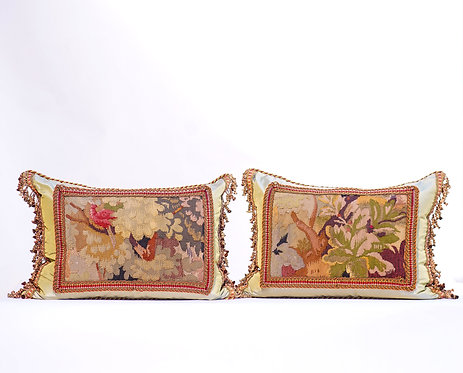 Pair of Floral Motif Aubusson Pillows with Tassles