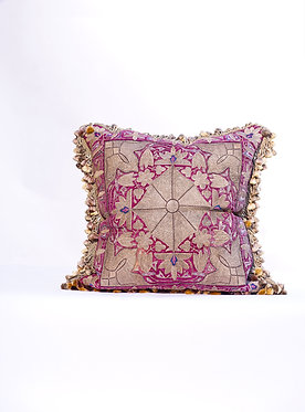 18th Centurty Sivler Thread & Silk Velet Embroidered Textile Pillow with Silk Ja