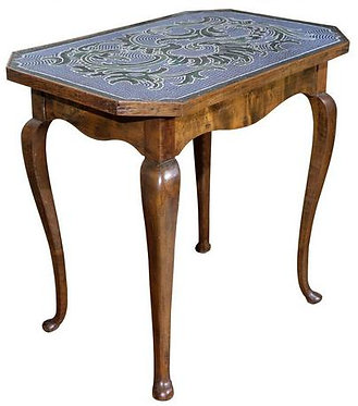 18th c. Austrian Hand Beaded Occasional Table