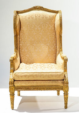 19th c. French Giltwood Wingback Chair