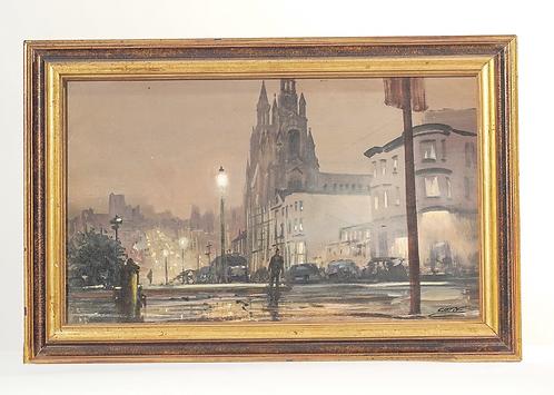 Oil on Canvas Painting , Street Scene