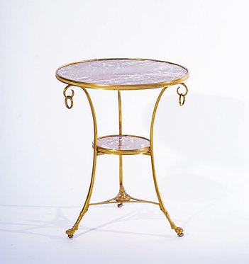 20th c. French Gueridon Bronze and Marble Table