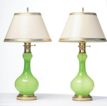 20th c. Italian Acid Green Murano Lamps