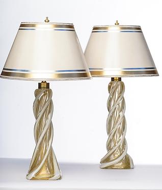 20th c. Italian Mid-Century Murano Gold and White Lamps