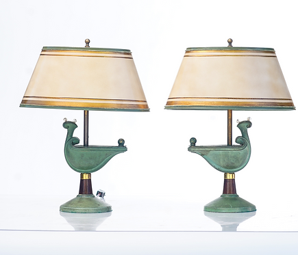 20th c. French Bronze Deco Lamps